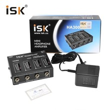 Original ISK HA300 portable Mini 4-channel stereo headphone amplifier low noise high magnification clear&nature sound(China)