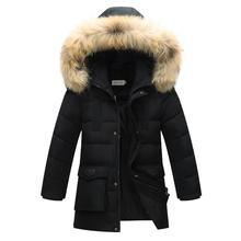 Top Quality Children Outerwear Winter Boys Thick Down Jacket 2017 New Winter Child Long Warm Coat Boys Hooded Down Outerwear 12Y(China)