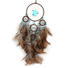 Handmade Originality Big Hot Brown Dreamcatcher Wind Chimes Indian Style Feather Pendant Dream Catcher Gift