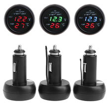 3in1 Auto Digital LED Thermometer USB Car Charger Cigarette Voltmeter Meter 12V/24V