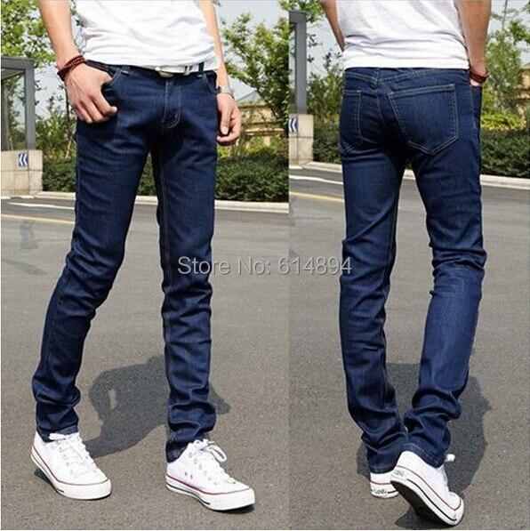 Men jeans 2017 New Fashion Pencil Pants Skinny Jeans Elastic Slim Fit Stretch Men Straight Little Feet Blue Black Jeans HommeОдежда и ак�е��уары<br><br><br>Aliexpress