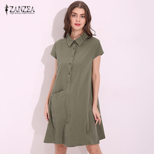 Buy Oversized 2017 Summer ZANZEA Women Cotton Knee Length Dress Casual Loose Lapel Short Sleeve Solid Dresses Vestidos Plus Size for $9.94 in AliExpress store
