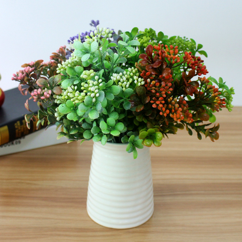 Artificial Plastic Branch Flower Wedding Home Decor Garden Artificial Plants Fake Plastic Milan Grass Foliage Plant Tree (15)