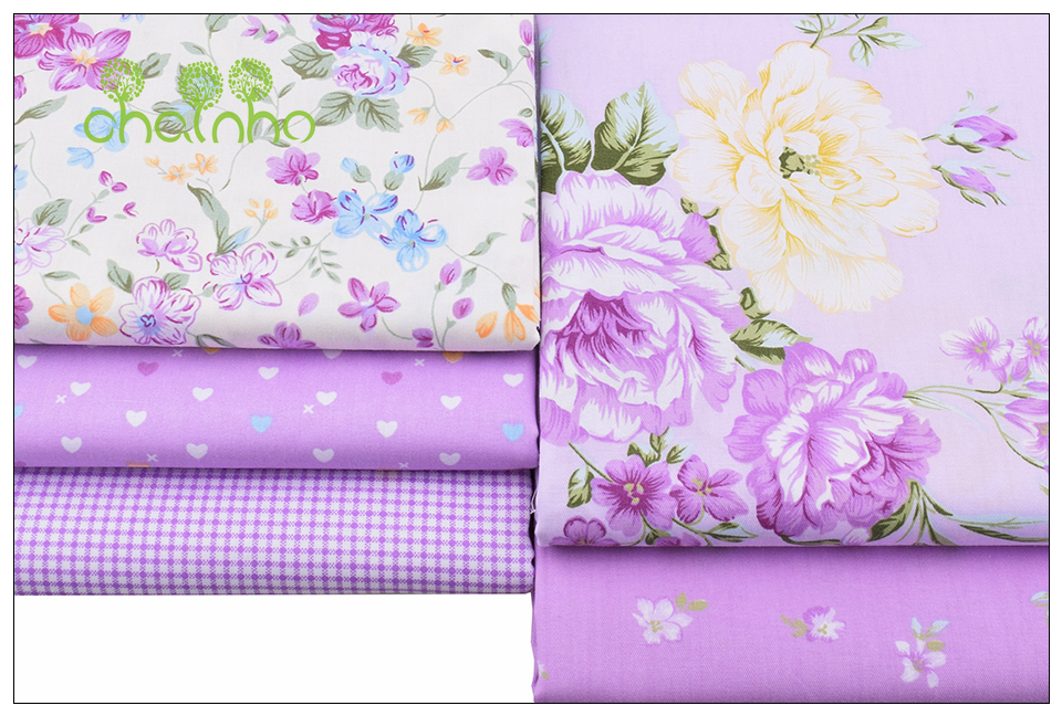 Chainho Twill Cotton Fabric,Patchwork Floral Tissue Cloth,DIY Sewing Quilting Fat Quarters Material For Baby&Children,5pcs/lot 1