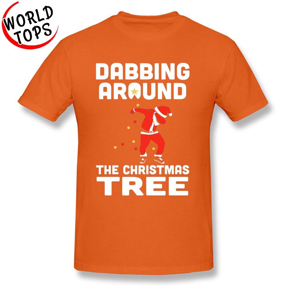 Tees Custom Summer/Autumn Latest Hip hop Short Sleeve 100% Cotton Fabric O-Neck Man T-shirts Hip hop Clothing Shirt Dabbing Around The Christmas Tree -1077 orange