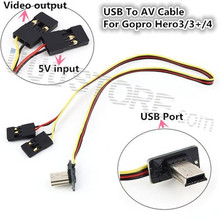 USB 90 Degree to AV cable Video Output 5V DC Power BEC Input Cable FPV Part for Gopro Hero 3 Camera Worldwide sale