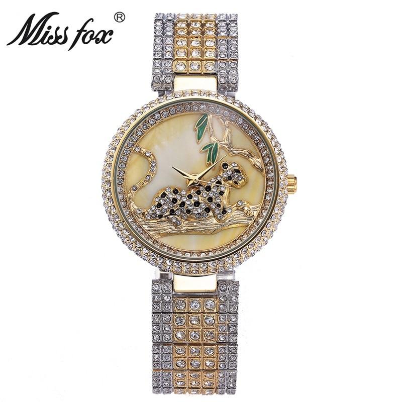Miss Fox Fashion Watch Women Genuine Rhinestone Leopard Ladies Wathces Stainless Steel Full Diamond Wristwatch Relogio Feminino<br>