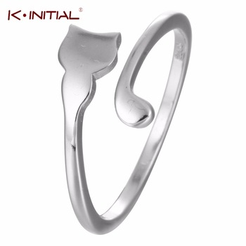Kinitial 1Pcs 925 Sterling Silver Personality Animal Kitty Rings Open Tiny Cat Tail Rings for women Gift Fashion Finger Jewelry