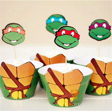 Free shipping 24pcs Cartoon Ninja Turtles Party Paper Cupcake wrappers toppers for kids birthday party decoration cake cups