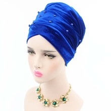 2017 New women beaded pearled velvet long scarf head wrap muslim hijab tube head scarf tie turbante free shipping(China)