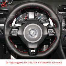 XUJI Black Leather Car Steering Wheel Cover for Volkswagen Golf 6 GTI MK6 VW Polo GTI Scirocco R Passat CC R-Line 2010(China)