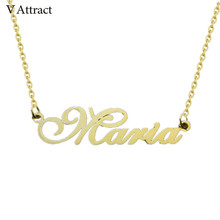 V Attract Rose Gold Choker Personalized Name Necklace Women Men Jewelry Custom Arabic Stainless Steel Customized Nameplate Colar(China)