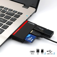 Rocketek Multi-in-1 Card Reader with 2 USB 3.0 slot and combo cardreader for CF/SD/TF micro SD/SDHC/SDXC for pc/macbook/imac(China)