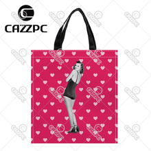 vintage Black and white and pink heart woman Print Custom individual waterproof Nylon Fabric shopping bag gift bag Pack of 2(China)
