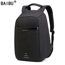 BAIBU Men Backpack Anti theft multifunctional Oxford Casual Laptop Backpack With USB Charge Waterproof Travel Bag Computer Bag(China)