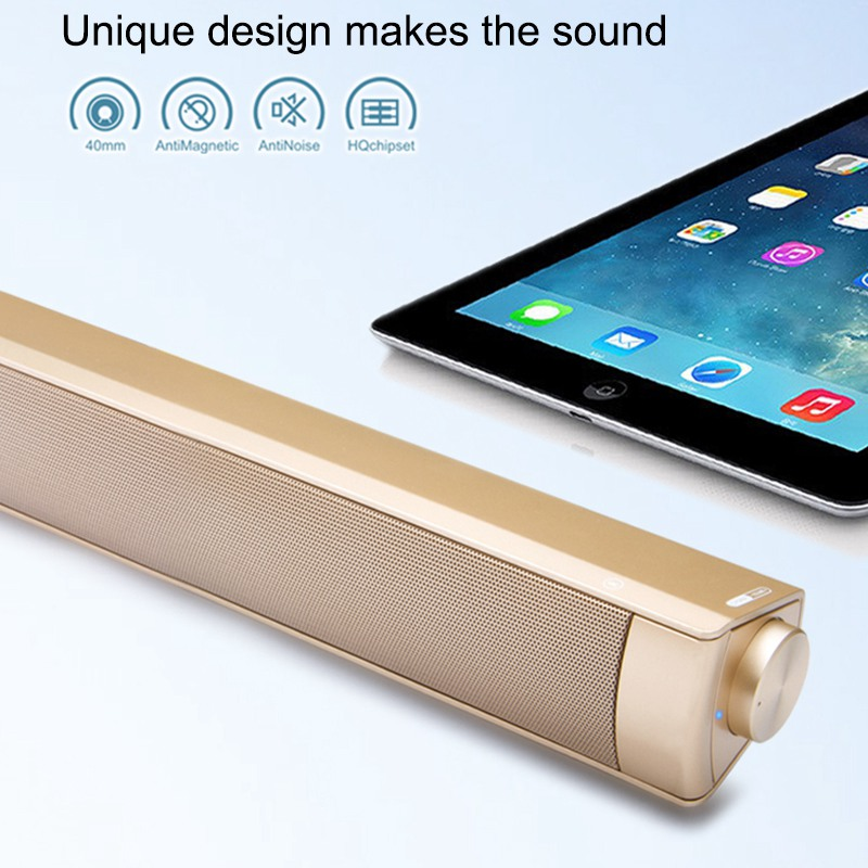VTIN Wireless Bluetooth Speaker 4.2 SoundBar Remote Control TF Card TV Cellphone Tablet Surround Sound System TV Speaker Golden (8)
