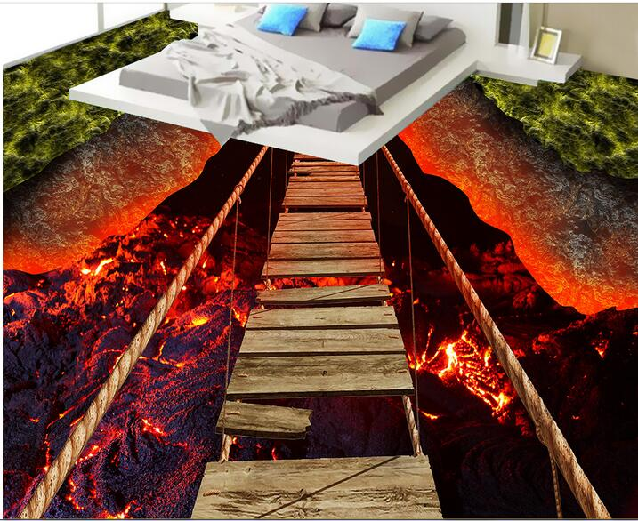 3 d flooring High-end custom pvc wall sticker 3 d Breathtaking lava rope bridge 3d room flooring photo wallpaper for walls 3d<br>