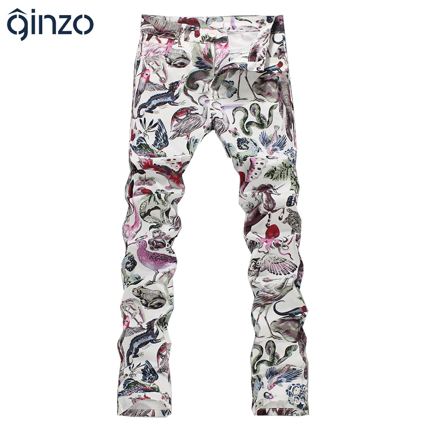 Mens fashion animal world print jeans Male slim fit straight elastic denim pants Long trousers Free shippingОдежда и ак�е��уары<br><br><br>Aliexpress
