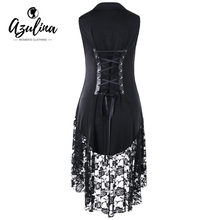 AZULINA Gothic Black Vest Women New Fashion Notched Collar Lace Trim Lace Up Long Waistcoat Casual Ladies Tops Women Lace Vests(China)