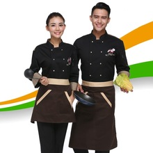 Autumn&Winter Restaurant Coffee Bar Man Woman Chef Jacket Long-sleeve Cook Coat Work Wear Classical Cook Clothes(China)