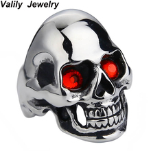 Valily Jewelry Skull Ring Stainless Steel Men Ring Fashion Jewelry Steel soldier mix color and size Punk Smooth black friday(China)