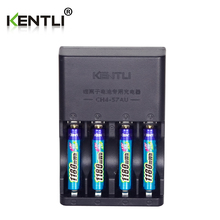 KENTLI 4pcs 1.5v aaa 1180mWh Rechargeable Li-ion Li-polymer Lithium battery + 4 slots AA AAA lithium Smart Charger(China)