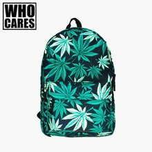 Black weed 3D printing Vogue backpack women mochilas mujer 2016 New mochila school laptop backpack sac a dos back pack schoolbag