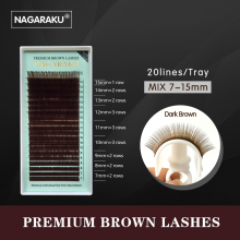 NAGARAKU mix 7~15mm,brown eyelash extension, brown lashes,brown eyelashes.Faux Mink False Eyelashes