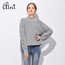 European Knitted Women Sweaters Solid Beading Pullovers Fashion O-Neck Slim Ladies Sweater 2017 Autumn Winter Sweaters 4XL 5XL