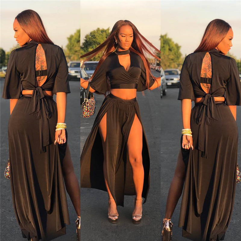 summer back bow-tie lace-up long skirt set-2
