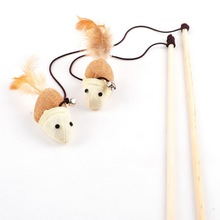 Cat Toys Interactive With Bells Elastic Rod Has a Funny Cat Mouse Pumpkin Feather Chick Fish Mascotas Toys Pets Toys(China)