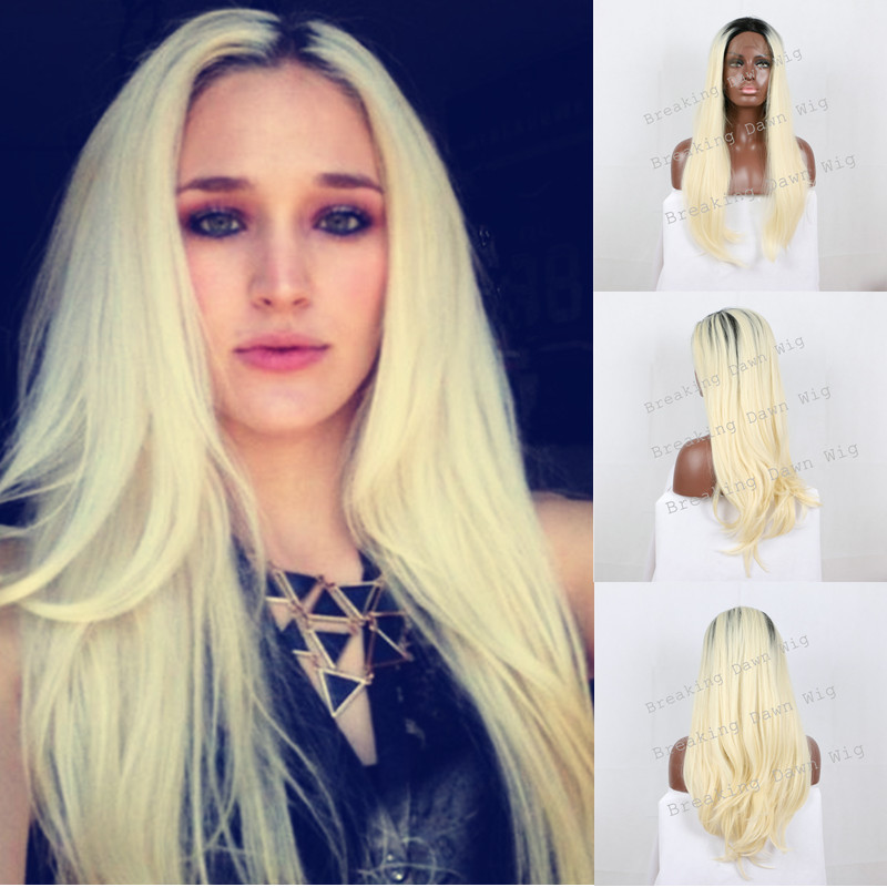 Sexy Blonde Ombre Wig Dark Roots Black/Blonde Two Tone Color Hair Synthetic Lace Front Wig Long Silky Straight Heat Resistant<br><br>Aliexpress