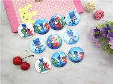 2pcs 4.5cm PJ Masks badge Cartoon Disposable badge Pin Brooch For Kid Boy Birthday Party supplier