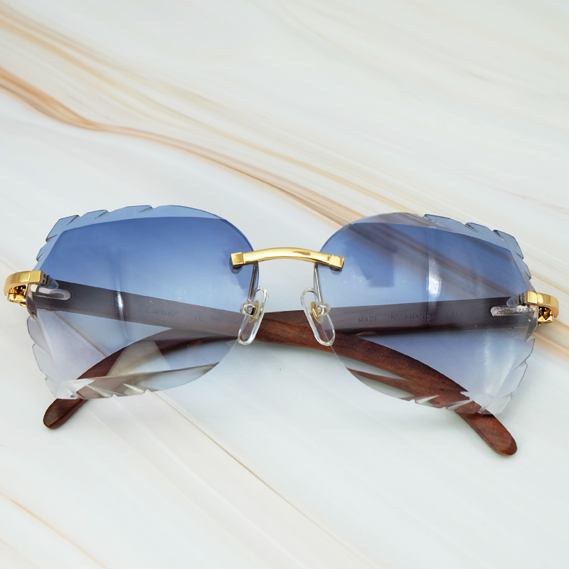 Rimless 3mm Thick Gradient Blue Lens Square Designer Brand Name Carter Sunglasses Wholesale Maroon Wood Sun Glass Wooden Shade (9)