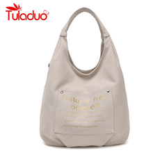 2016 New Women's Canvas Casual Shoulder Bag Ladies High Quality Brand Vintage Tote Beach Bag Large Capacity Shopping Handbag