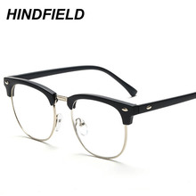 Women Square Eyeglasses Frame Optical Eyeglass Frames Brand Men Clear Lens Reading Fake Glasses Vintage Rivet Half Metal Eyewear(China)