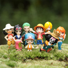 Free Shipping 8pcs/set One Piece PVC Action Figure Toys 3-4.5cm Microscopic Bonsai Succulents Garden Decoration Toys Doll