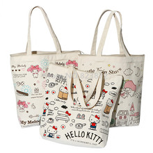 Cute Hello Kitty Canvas Shoulder Bag Women Handbag Melody Little Twin Stars Kawaii Cartoon Book Bags Shopping Bag Zipper