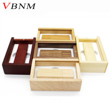 VBNM (over 10 pcs free LOGO) Wooden usb + box usb flash drive memory Stick pendrive 8gb 16gb 32gb Photography wedding gift(China)