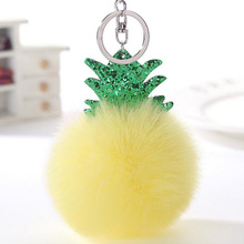 Opshineqo 2017 Cute Christmas Tree Keychain Pure Color Pompom False Fur Keychain Chaveiro Femme Women Bay Keychain(China)
