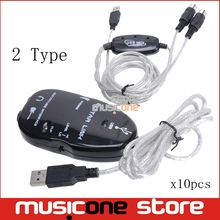 10 pcs Electric Guitar Link USB MIDI Link  Audio Cable Interface Guitarlink PC/MAC Recording Adapter