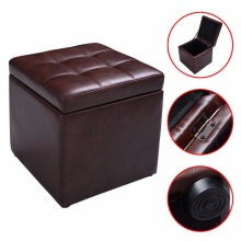 Cube Ottoman Pouffe Storage Box Lounge Seat Footstools with Hinge Top Brown  HW47908BN