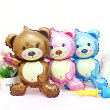 Mini Teddy Bear Children's Toys Decoration Foil Balloons Birthday&Party Balloons Cartoon Helium Balloon Free Shipping SJ5(China)