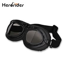BLACK Motorcycle Goggles Vintage WWII Jet Aviator Scooter Glasses Goggles FOR Motocross Motorbike Biker Cruiser Helmet