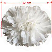 32CM White cheerleading pompoms (2pieces/lot) Cheers pompon with middle plastic handle Color can free combination