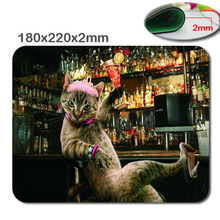 Bar Funny Cat Personalized Rectangle Textured Surface Fallout Gaming Mouse Pad 220X180X2mm..- durable office accessory and gift