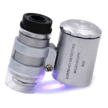 by dhl/fedex 100pcs/lot Mini Lens 60X Pocket Magnifier Microscope With LED Light Jewelry Loupe Currency Dectector 20%off(China)