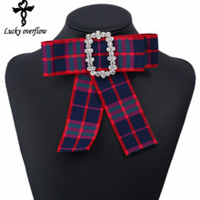2018 New Fashion Fabric Brooch Hot Bowknot Brooch Shirt Bow Tie College Wind Collar Accessories For Women Girls Valentine Gift(China)