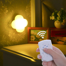 Remote Four Leaf Clover timing emergency LED Night Light remote control Nightlight Battery operated Closet Cabinet Toilet Lamps(China)