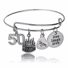Antique Birthday Cake Bangles Mom Mama Heart Bracelet Live Laugh Love Number 50 Mother Women Family Party Gift Wristband Jewelry(China)